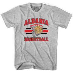 Albania 90's Basketball Net T-shirt in Grey Heather by Billy Hoyle