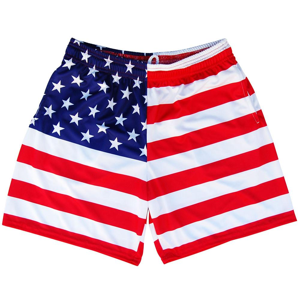 American Flag Athletic Shorts in Red White and Blue by Mile End Sportswear