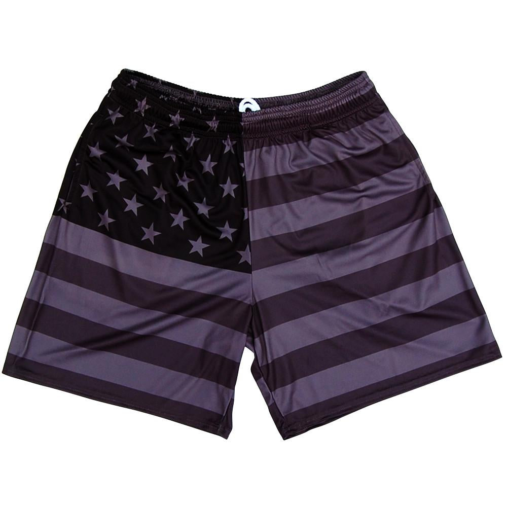 American Flag Black Out Athletic Shorts in Black by Mile End Sportswear