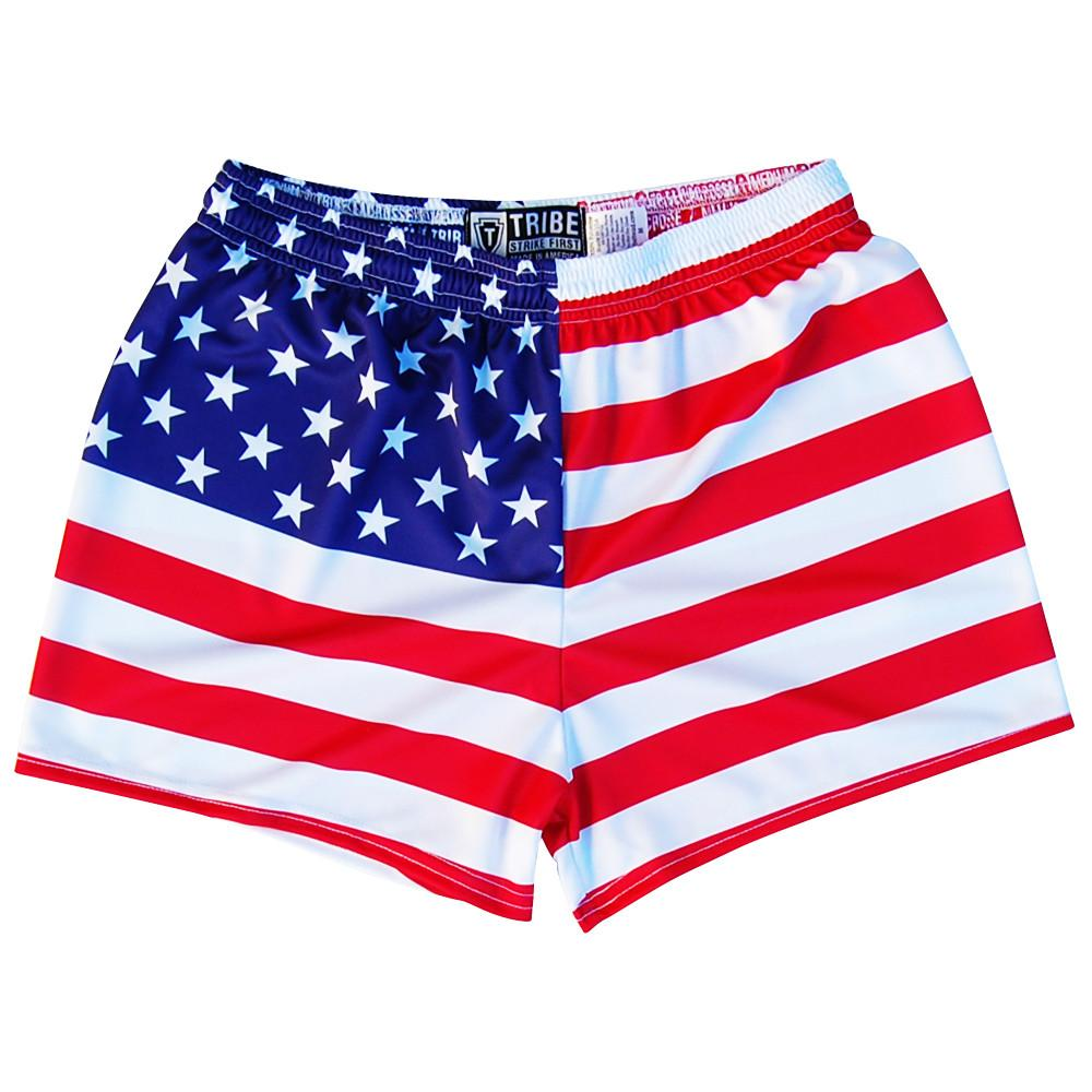 American Flag Womens & Girls Sport Shorts by Mile End in Red by Mile End Sportswear