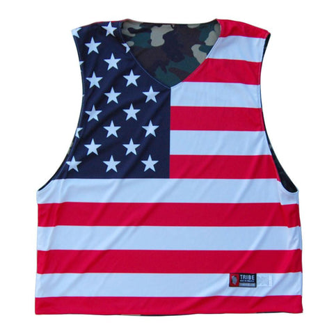 American Flag and Camo Athletic Cut Sublimated Reversible Pinnie