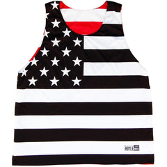 American Flag  Basketball Reversible in Black and White by Billy Hoyle