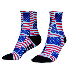 American Flag Party Half Crew Athletic Socks in White by Mile End Sportswear