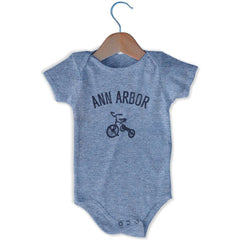Ann Arbor City Tricycle Infant Onesie in Grey Heather by Mile End Sportswear