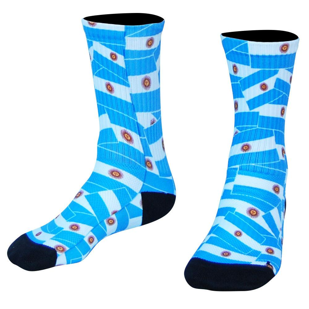 Argentina Flag Party Premium Athletic Crew Socks in Blue by Mile End Sportswear