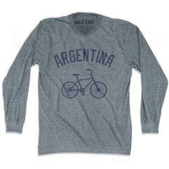 Argentina Vintage Bike T-shirt Long Sleeve T-shirt in Athletic Grey by Mile End Sportswear