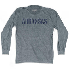 Arkansas State Stencil Adult Tri-Blend Long Sleeve T-shirt by Ultras