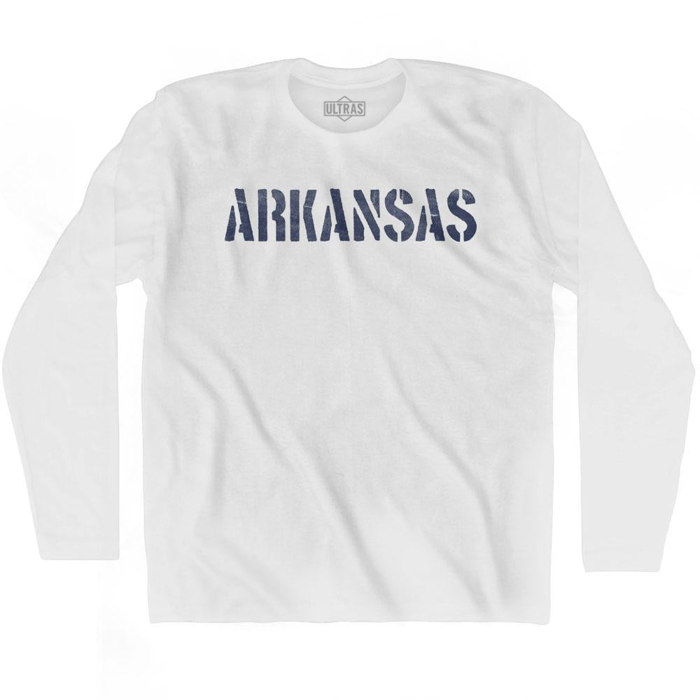 Arkansas State Stencil Adult Cotton Long Sleeve T-shirt by Ultras