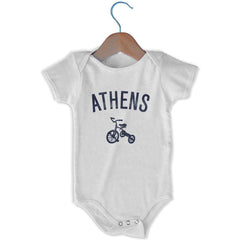 Athens City Tricycle Infant Onesie in White by Mile End Sportswear