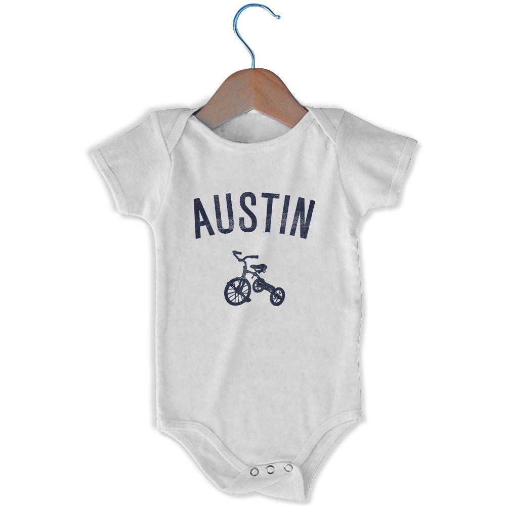 Austin City Tricycle Infant Onesie in White by Mile End Sportswear