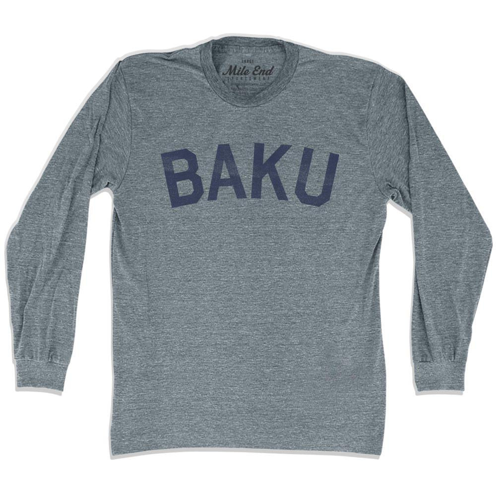 Baku City Vintage Long Sleeve T-shirt in Athletic Grey by Mile End Sportswear