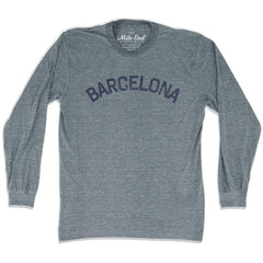 Barcelona City Vintage Long-Sleeve T-shirt in Athletic Grey by Mile End Sportswear