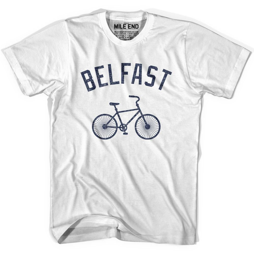 Belfast Vintage Bike T-shirt in White by Mile End Sportswear
