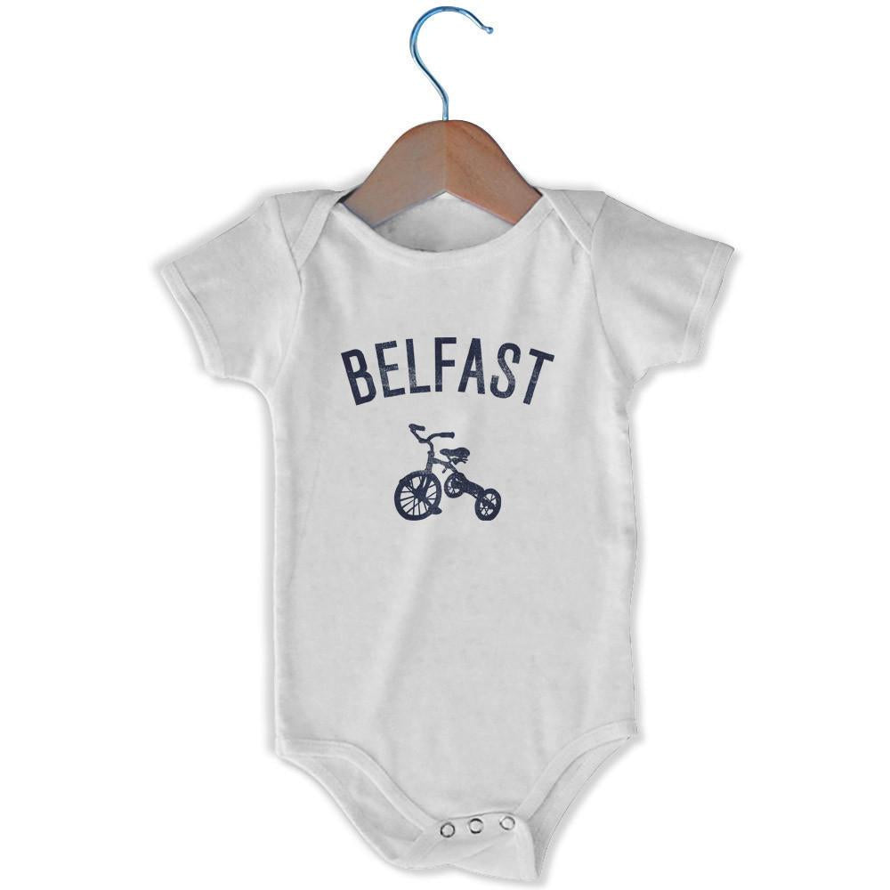Belfast City Tricycle Infant Onesie in White by Mile End Sportswear