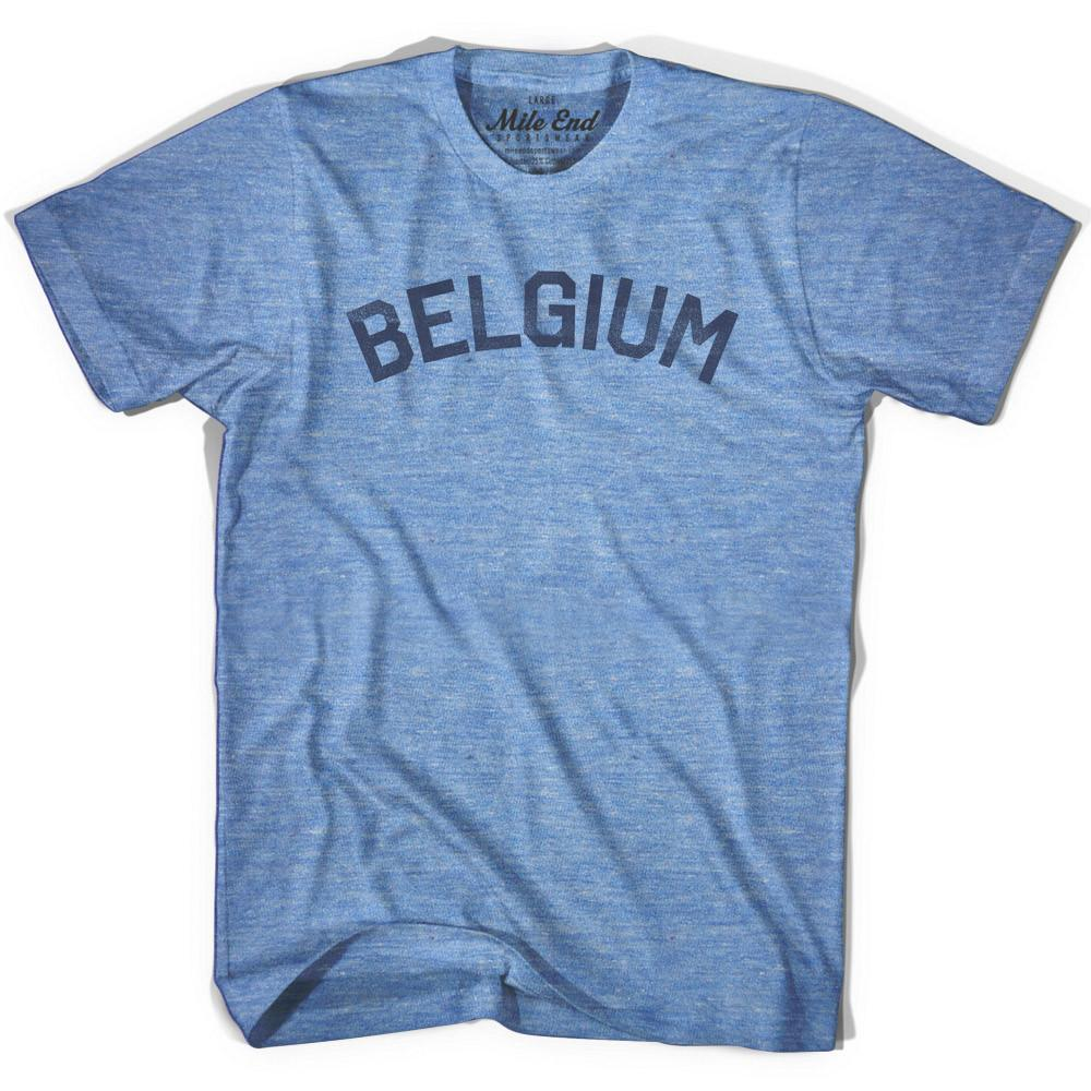 Belgium City Vintage T-shirt in Athletic Blue by Mile End Sportswear