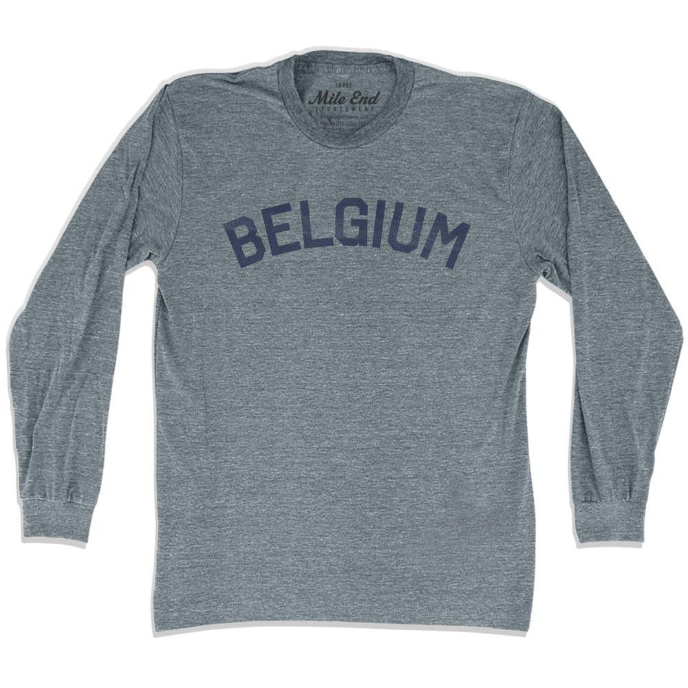 Belgium City Vintage Long Sleeve T-shirt in Athletic Grey by Mile End Sportswear