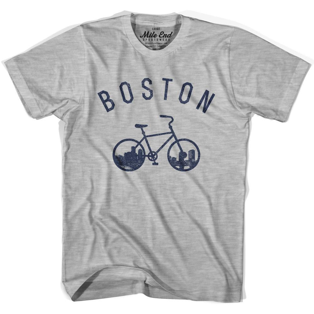 Boston Bike T-shirt in Heather Grey by Mile End Sportswear