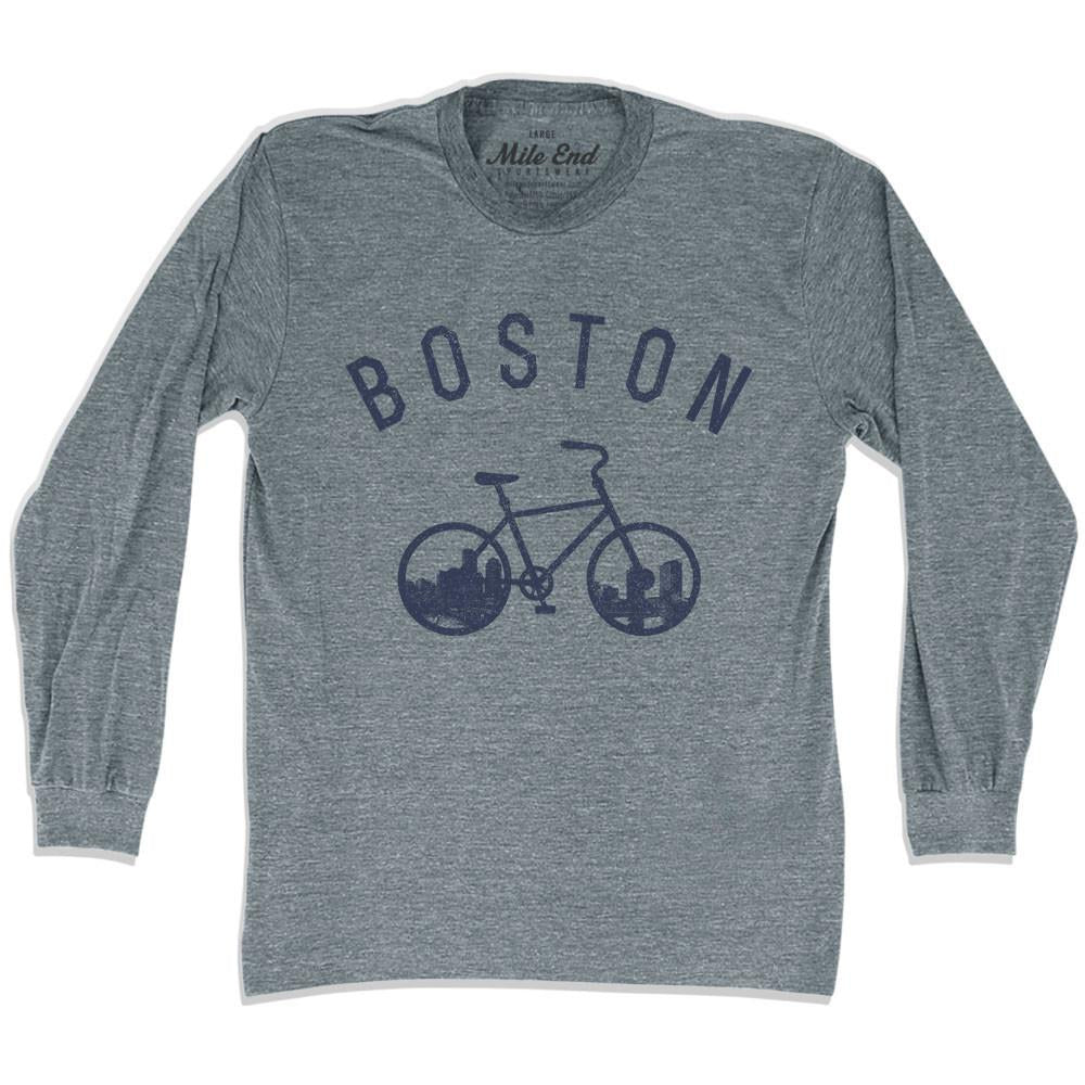 Boston Bike Long Sleve T-shirt in Athletic Grey by Mile End Sportswear