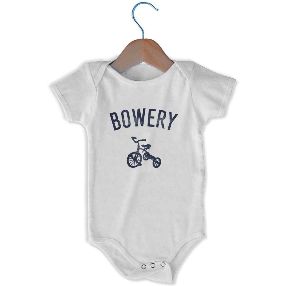 Bowery City Tricycle Infant Onesie in White by Mile End Sportswear