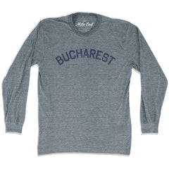 Bucharest City Vintage Long-Sleeve T-shirt in Athletic Grey by Mile End Sportswear