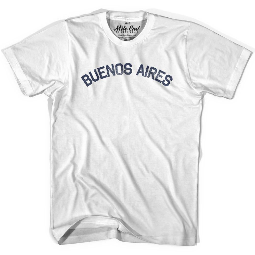 Buenos Aires City Vintage T-shirt in White by Mile End Sportswear
