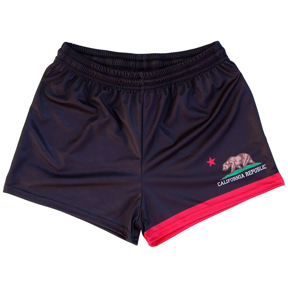 California Flag Womens & Girls Sport Shorts by Mile End in Black by Mile End Sportswear