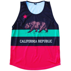 California Flag Sport Tank in Black by Mile End Sportswear