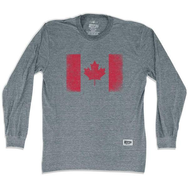 Canada Vintage Flag Soccer Long Sleeve T-shirt in Athletic Grey by Ultras