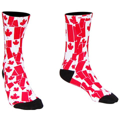 Canada Flag Party Crew Socks in White by Mile End Sportswear