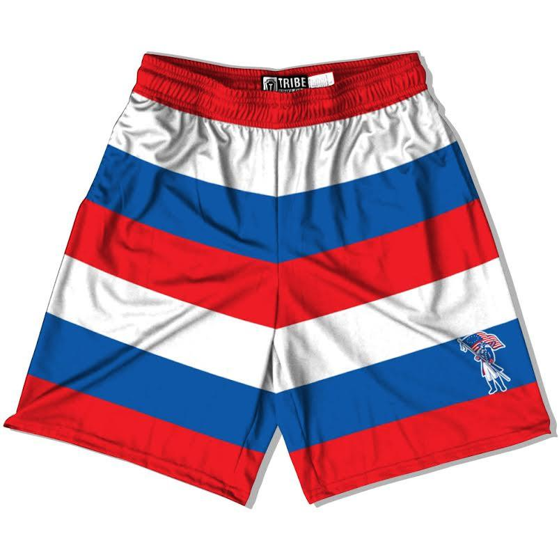 Carroll Patriots Lacrosse Shorts in Red White and Blue by Tribe Head Lacrosse