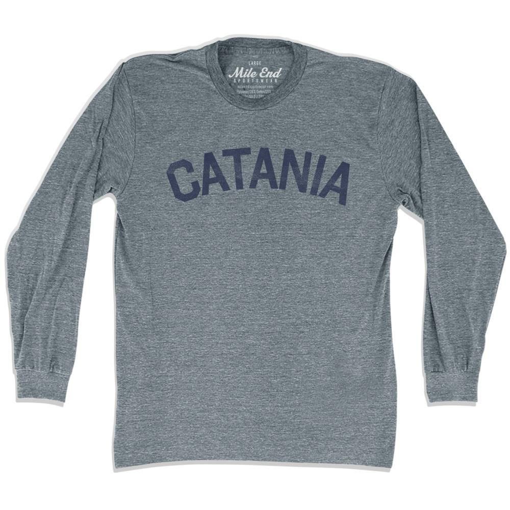 Catania City Vintage Long-Sleeve T-shirt in Athletic Grey by Mile End Sportswear