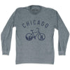 Chicago Bike Long Sleeve T-shirt in Athletic Grey by Mile End Sportswear