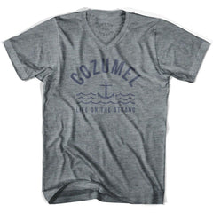 Cozumel Anchor Life on the Strand V-neck T-shirt in Athletic Grey by Life On the Strand
