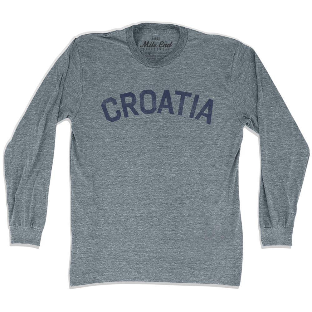 Croatia City Vintage Long Sleeve T-shirt in Athletic Grey by Mile End Sportswear