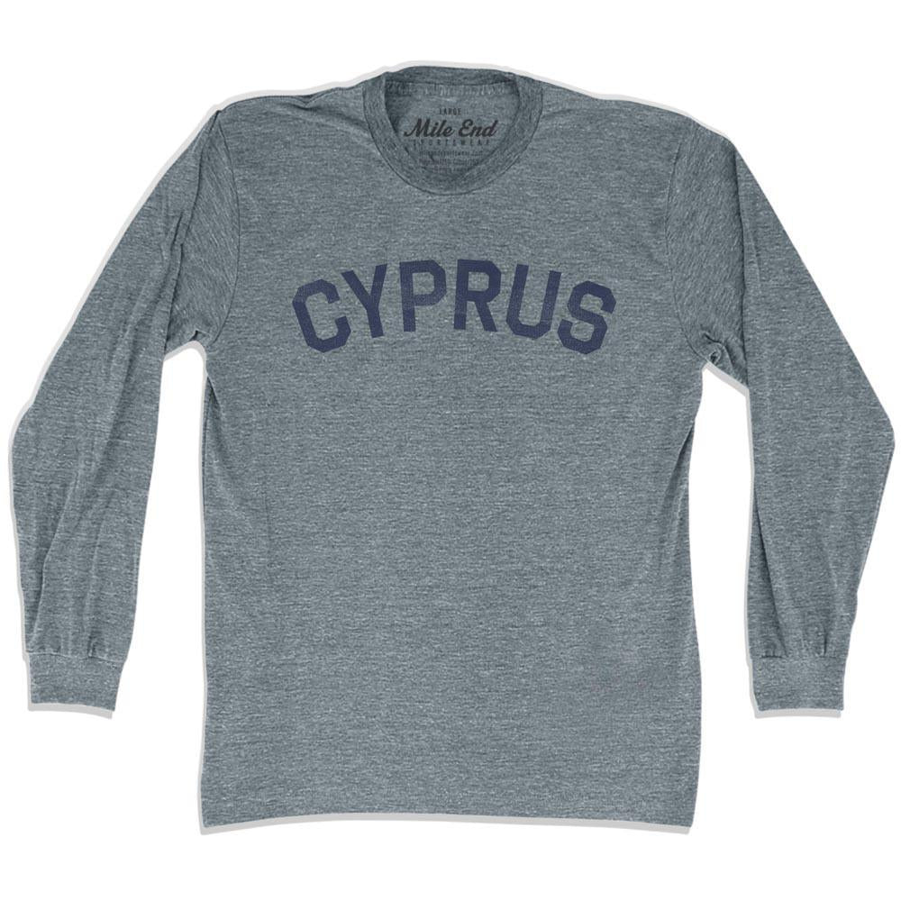Cyprus City Vintage Long Sleeve T-shirt in Athletic Grey by Mile End Sportswear