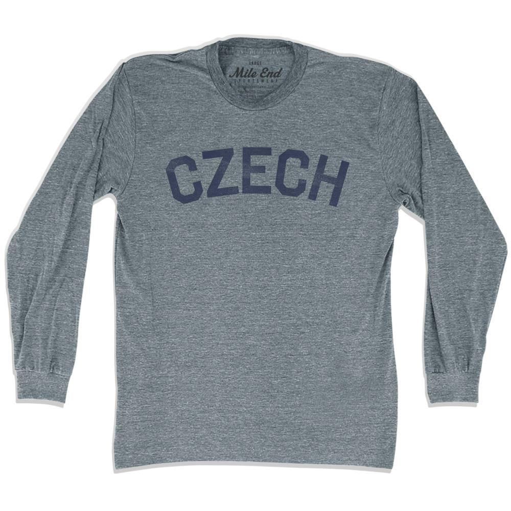 Czech City Vintage Long Sleeve T-shirt in Athletic Grey by Mile End Sportswear