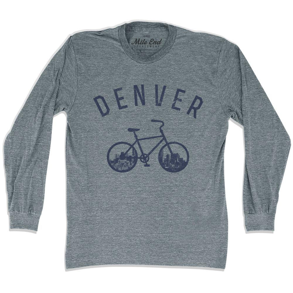 Denver Bike Long Sleeve T-shirt in Athletic Grey by Mile End Sportswear