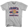 France 90's Basketball T-shirts in Grey Heather by Billy Hoyle