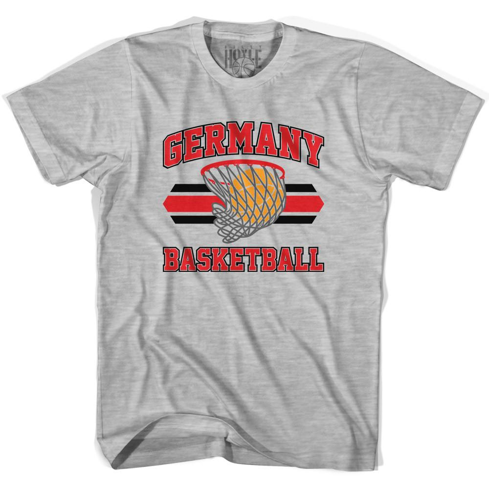 Germany 90's Basketball T-shirts in Grey Heather by Billy Hoyle