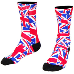 Great Britain Flag Party Crew Socks in Red, White, Blue by Mile End Sportswear