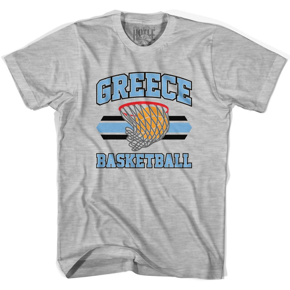 Greece 90's Basketball T-shirts in Grey Heather by Billy Hoyle