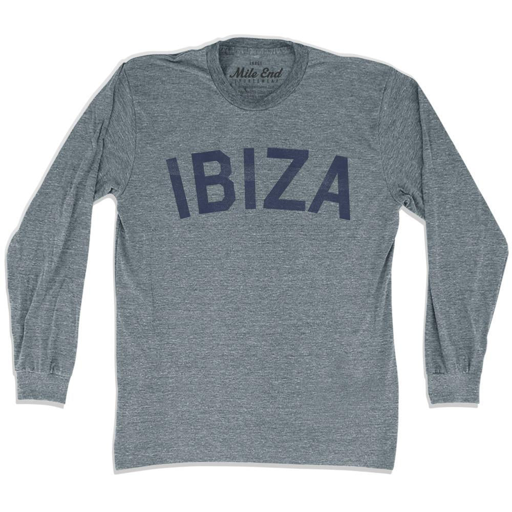 Ibiza City Vintage Long Sleeve T-shirt in Athletic Grey by Mile End Sportswear