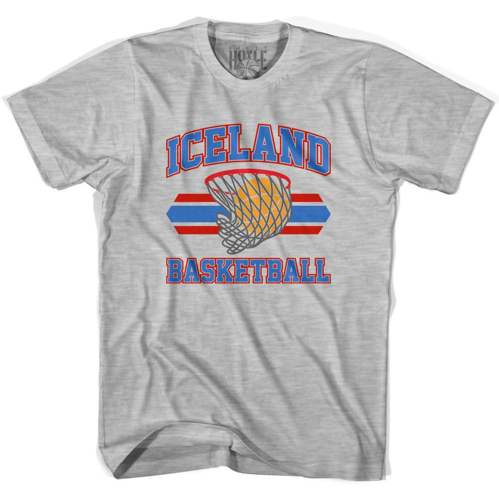 Iceland 90's Basketball T-shirts in Grey Heather by Billy Hoyle