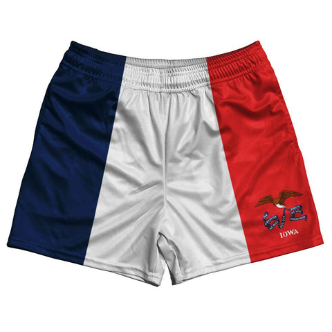 Iowa State Flag Rugby Shorts Made In USA