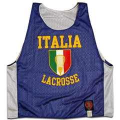 Italy Crest Lacrosse Pinnie - Royal / Youth X-Small - Graphic Mesh Lacrosse Pinnies