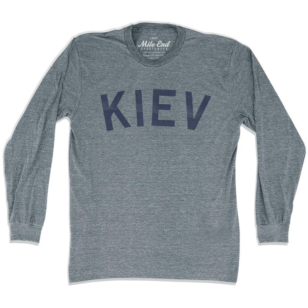 Kiev City Vintage Long-Sleeve T-shirt in Athletic Grey by Mile End Sportswear