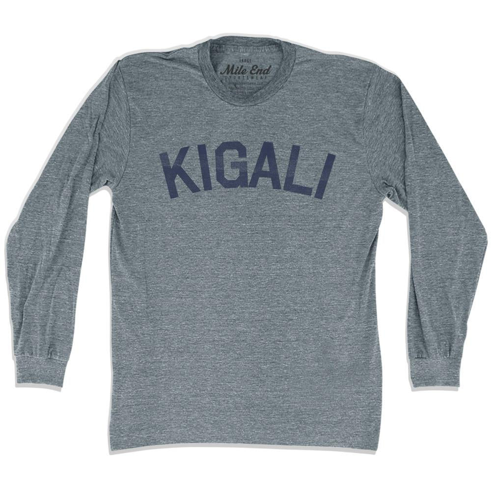 Kigali City Vintage Long Sleeve T-shirt in Athletic Grey by Mile End Sportswear