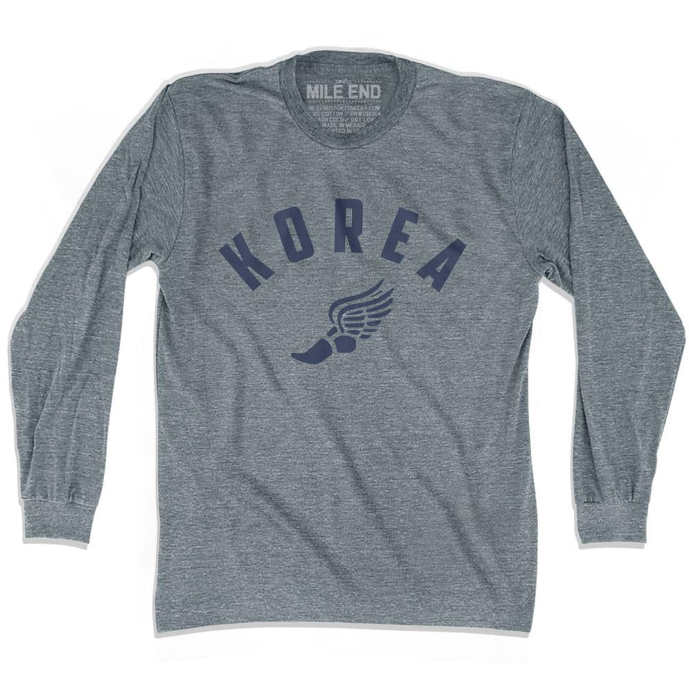 Korea Track long sleeve T-shirt in Athletic Grey by Mile End Sportswear