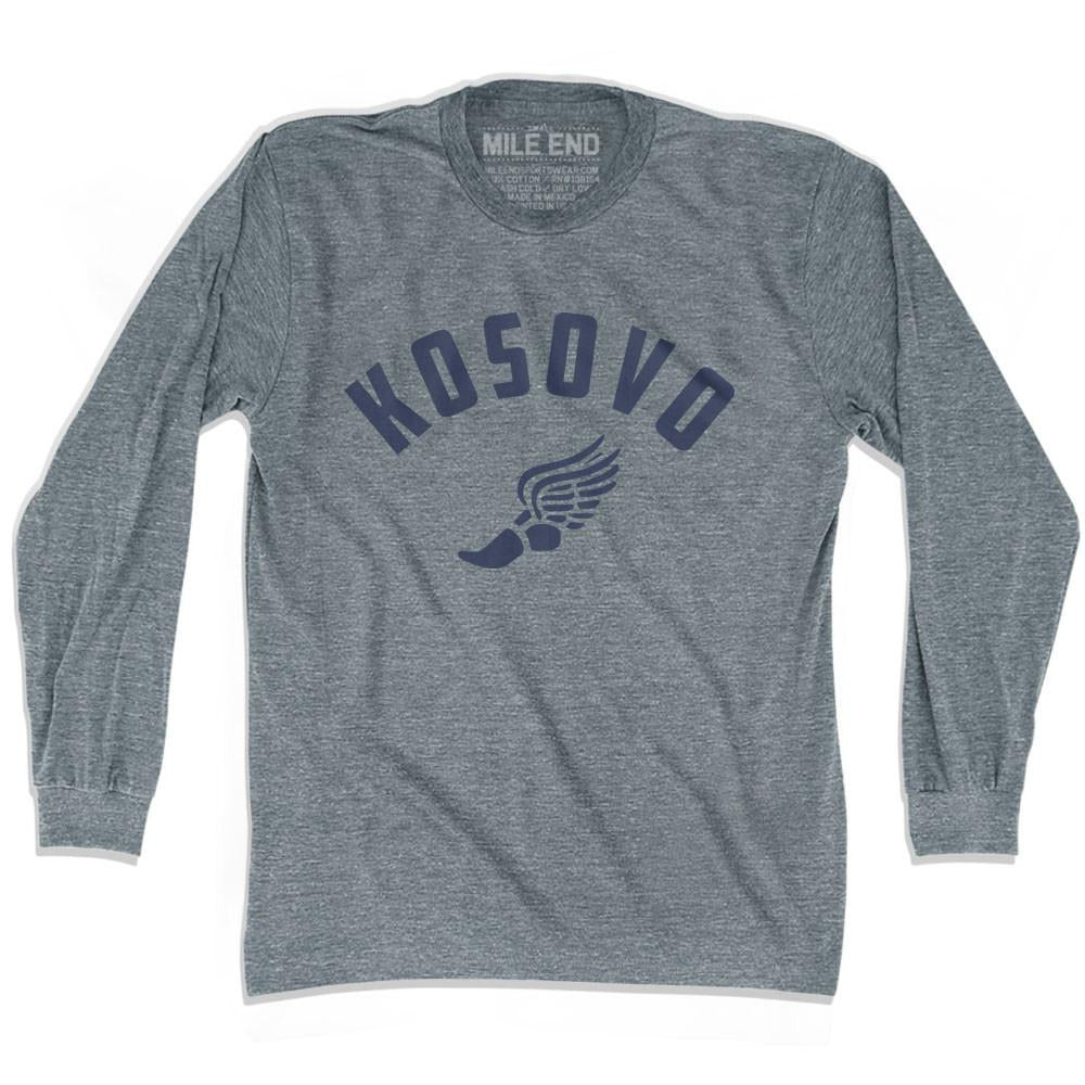 Kosovo Track long sleeve T-shirt in Athletic Grey by Mile End Sportswear