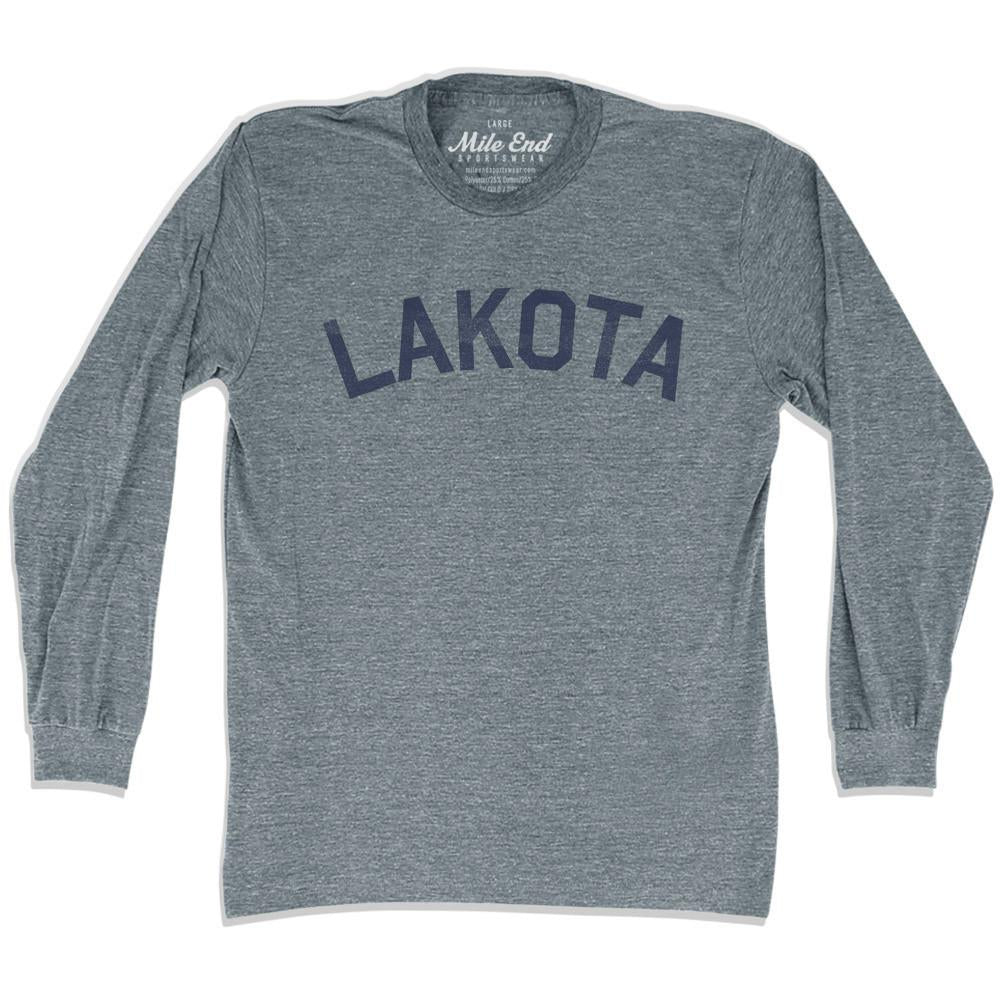 Lakota City Vintage Long-Sleeve T-shirt in Athletic Grey by Mile End Sportswear